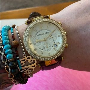 Michael Kors brown leather and gold watch